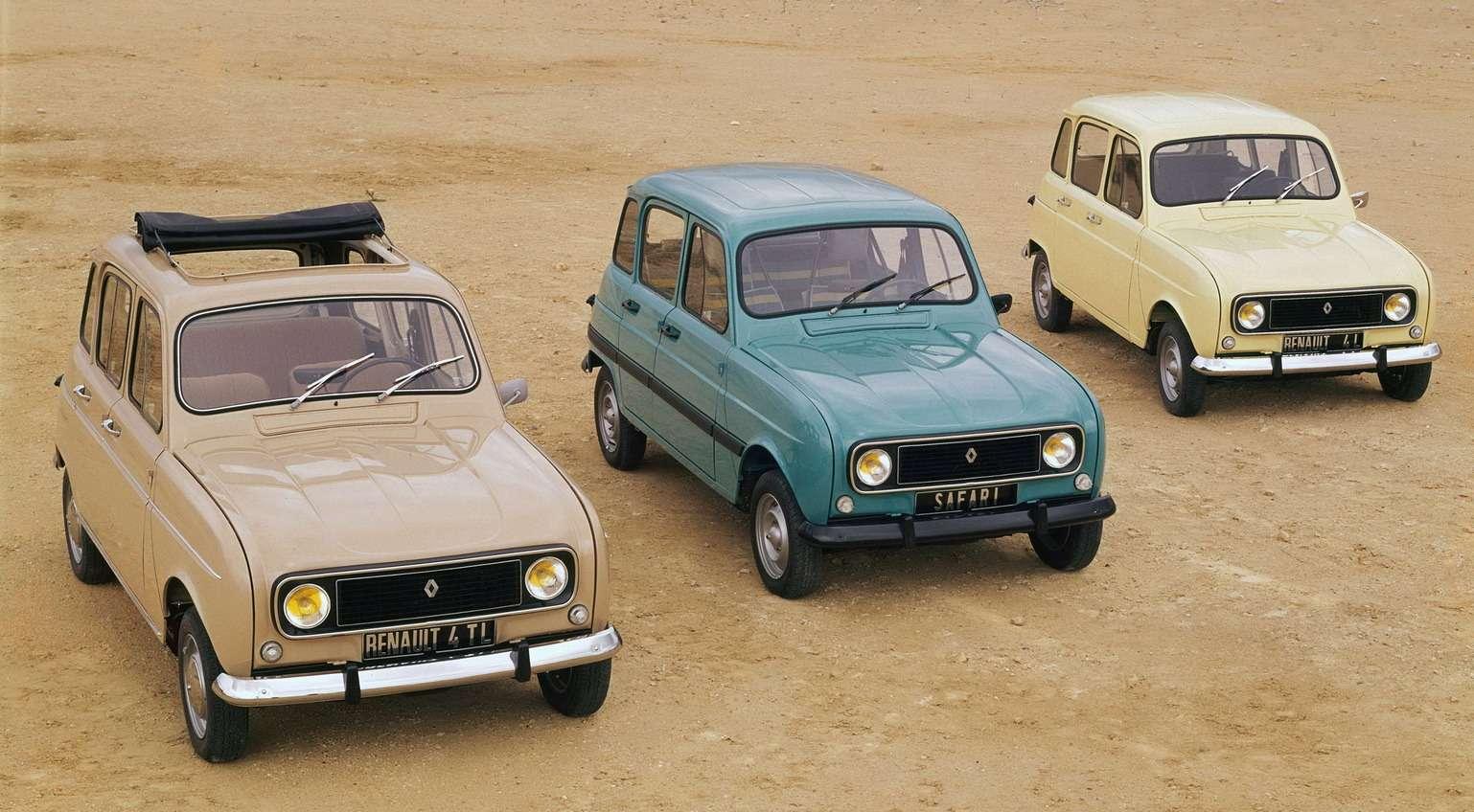 Производственная программа Renault R4в 1975 году: добавлена «пляжная» версия Safari смодным молдингом иобивкой сидений вкрупную полоску