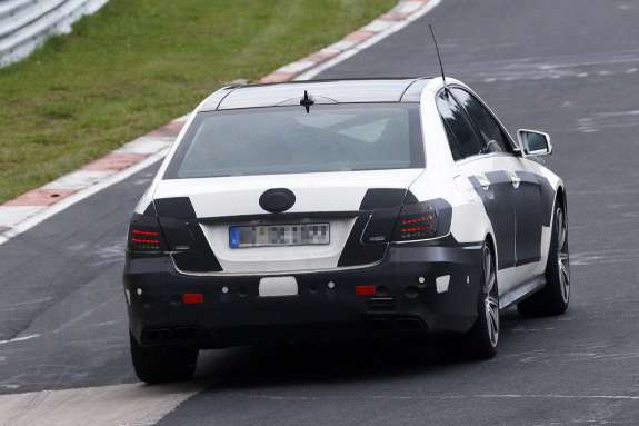 Restyled Mercedes-Benz E63AMG test prototype rear view_no_copyright