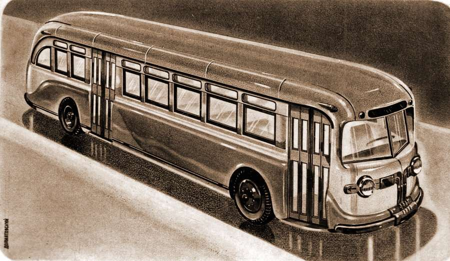 Эскиз автобуса вагонной компоновки, выполненный перед войной сотрудником НАТИ Юрием Ароновичем Долматовским. Изображение сресурса www.avtoar.com
