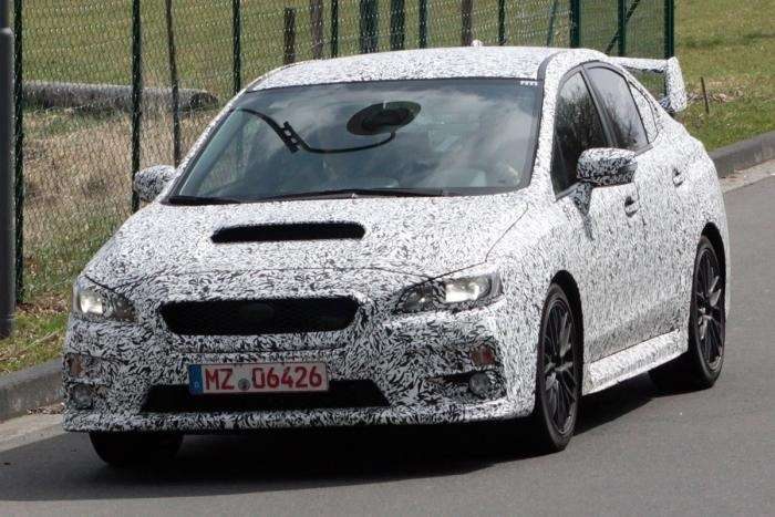 Subaru WRX test prototype side front view no copyright