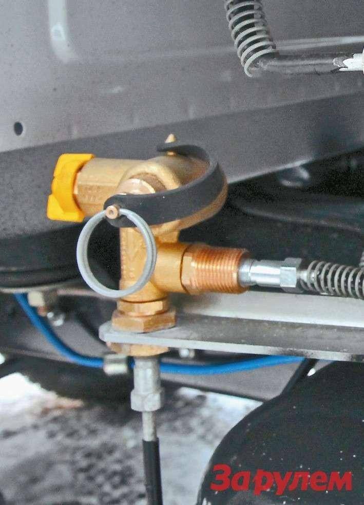 Узел заправки баллонов газом расположен полевому борту машины