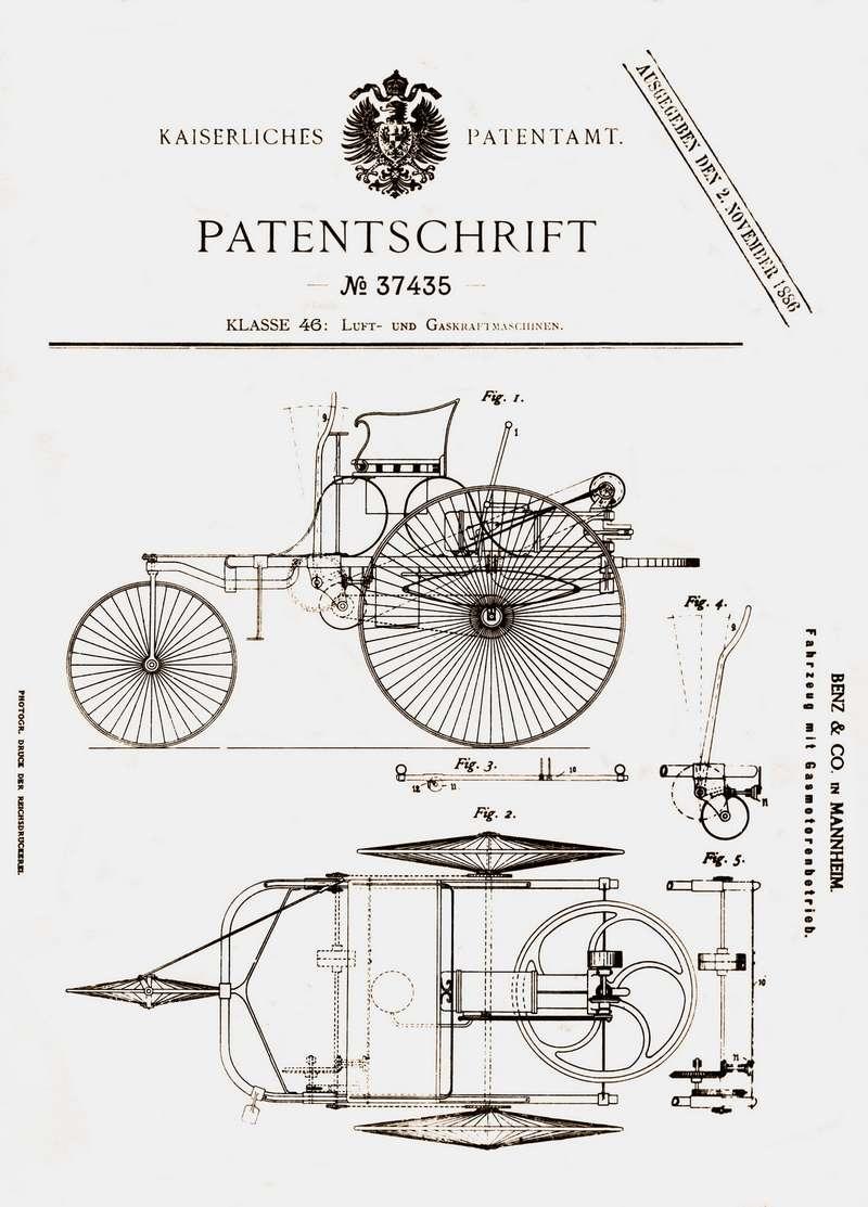 Иллюстрация изпатента, выданного Карлу Бенцу собщими видами изобретения1-2