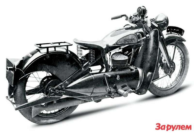Francis-Barnett Cruiser 1934 года. Вкожухе силового агрегата спрятан маслобак— у250-кубового двухтакт- ного двигателя раздельная система смазки!