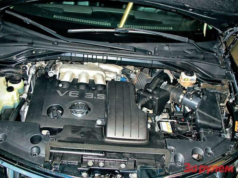 Самый распространенный мотор— VQ35DE. Наэтой машине его уже меняли погарантии из-за разрушения нейтрализаторов.