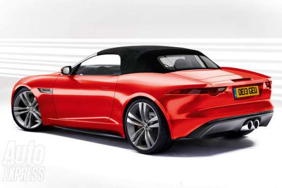 Jaguar F-Type rendering by Auto Express side-rear view