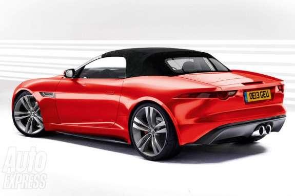 Jaguar F-Type rendering byAuto Express side-rear view