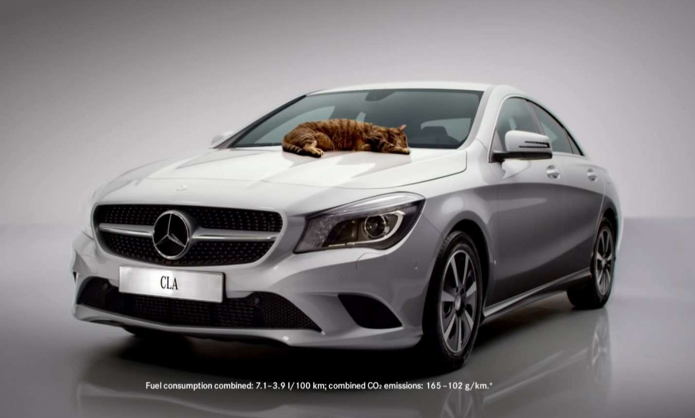 реклама мерседес аэродинамика с кошкой cla