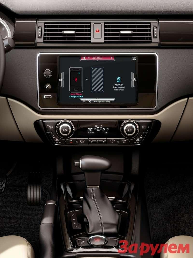 649725_Qoros 3 Sedan — interior — centre console and infotainment
