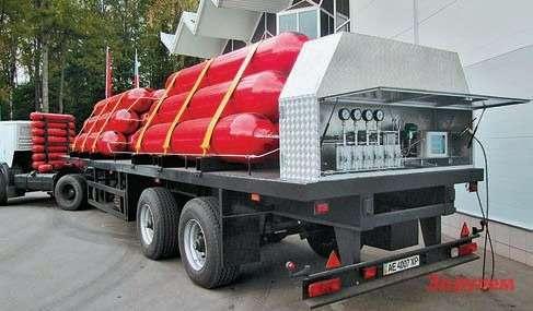 Такие передвижные метановые заправки выпускают иэксплуатируют наУкраине. Заметьте: газ вбаллонах изРоссии