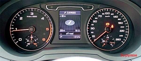Инструментарий простой, нофункциональный. Нанебольшой дисплей между циферблатами выводятся показания борткомпьютера, настройки аудиосистемы, подсказки навигатора.