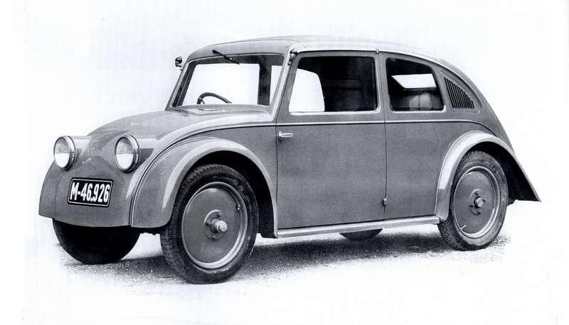 Tatra V750 1933 года стала робким прообразом аэродинамических заднемоторных автомобилей чешской марки. Машина действительно больше напоминает Volkswagen
