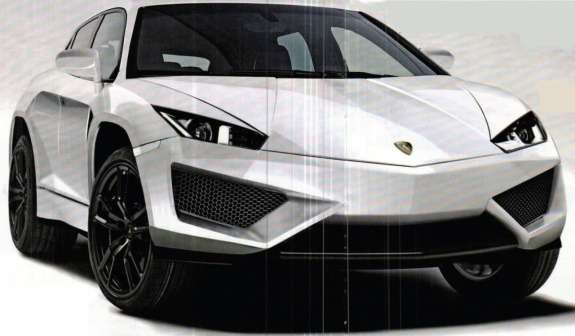 Lamborghini SUV rendering by Quattroruote side-front view