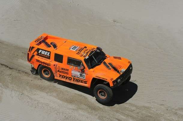 USdriver Robby Gordon steers his Hummer