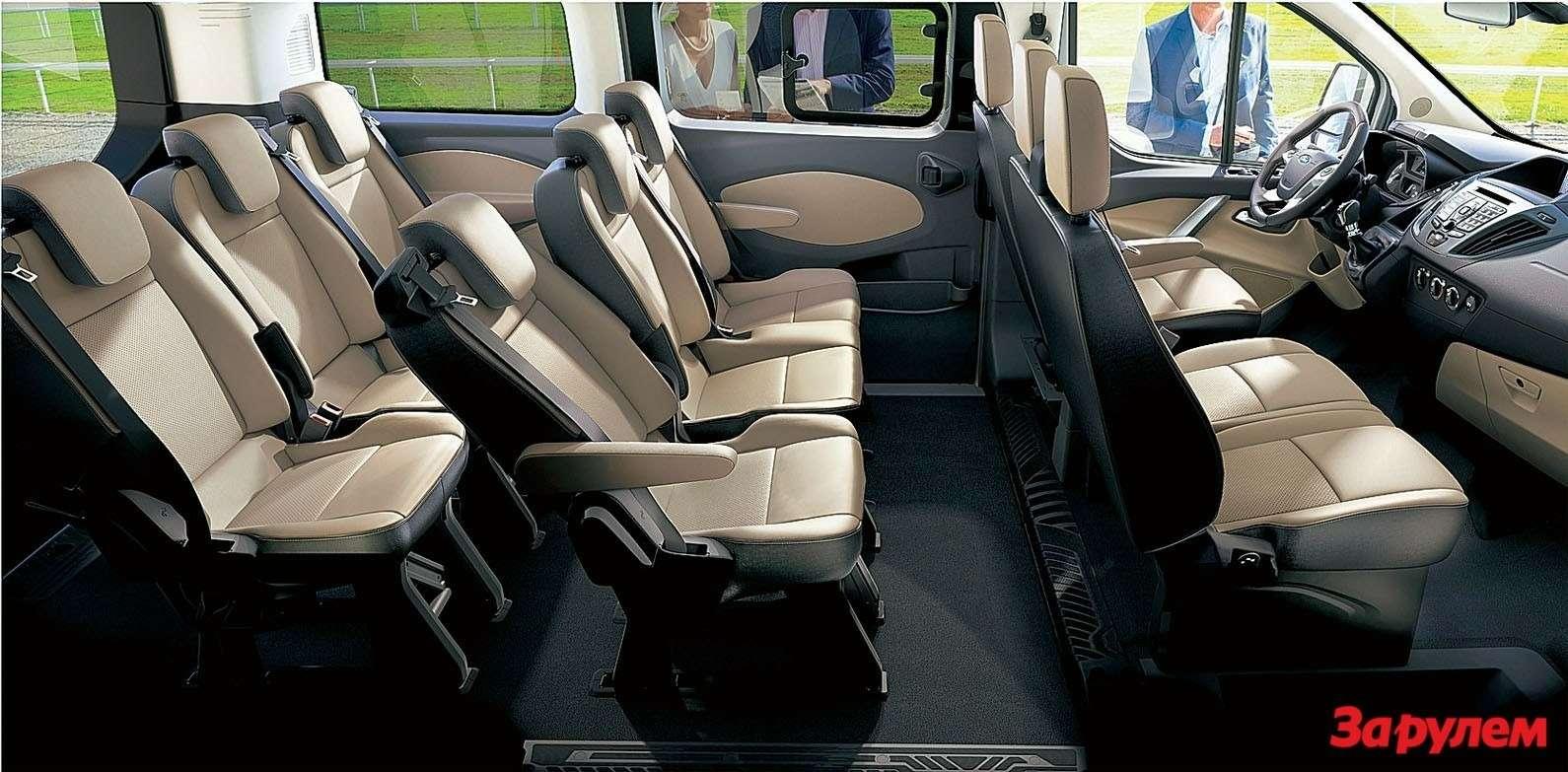 Второй итретий ряды сидений составлены израздельных кресел дляшестерых пассажиров. Возможности трансформации салона многообразны, аскладывать сиденья легко ипросто.