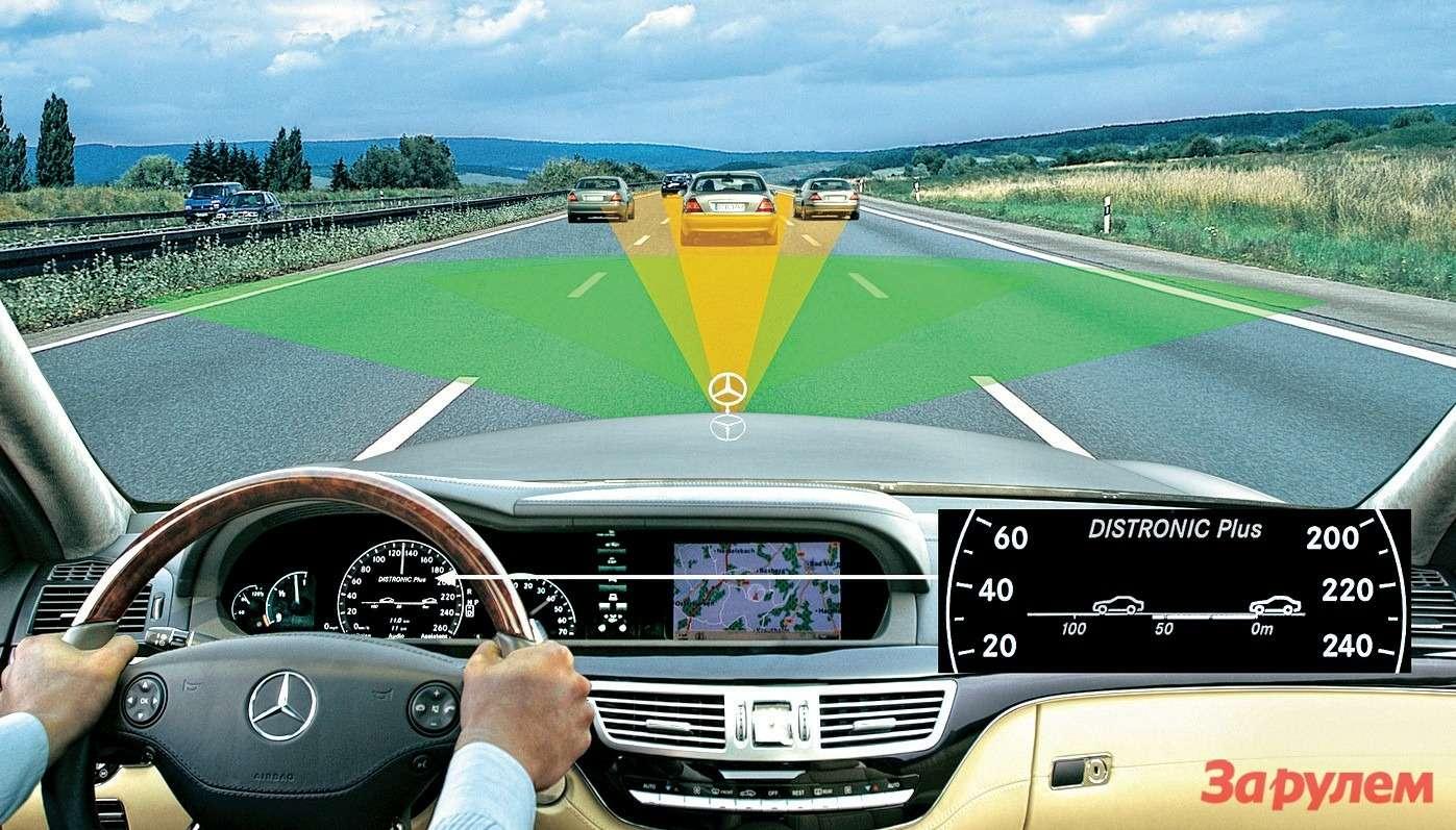 Адаптивный круиз-контроль использует радар длясканирования пространства перед машиной. Когда дистанция дососеда становится опасно малой, электроника самостоятельно задействует тормоза— вплоть дополной остановки, если потребуется.