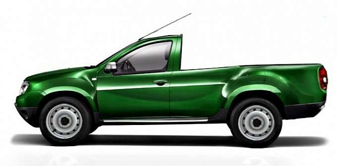 Dacia Duster Pick-up single cab rendering side view_no_copyright