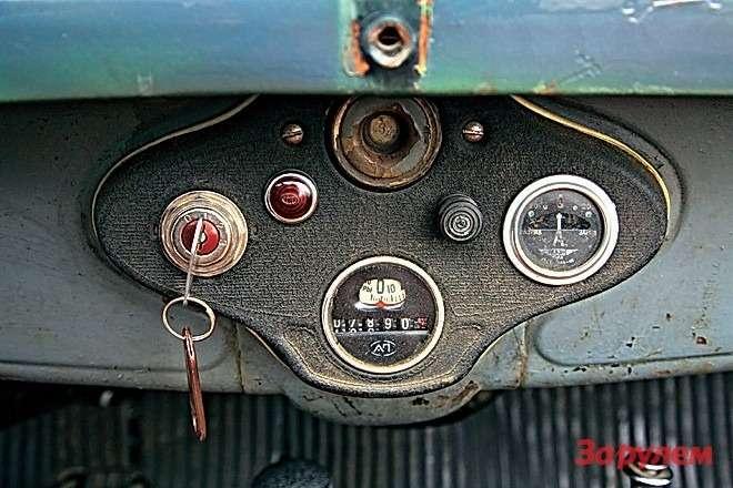 Надспидометром указатель уровня топлива (бак— перед ветровым стеклом, подача бензина ккарбюратору— самотеком), справа амперметр.
