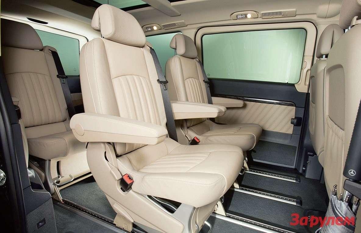 Mercedes-Benz Viano FL: Кресла двигаются, разворачиваются, складываются ивыносятся.