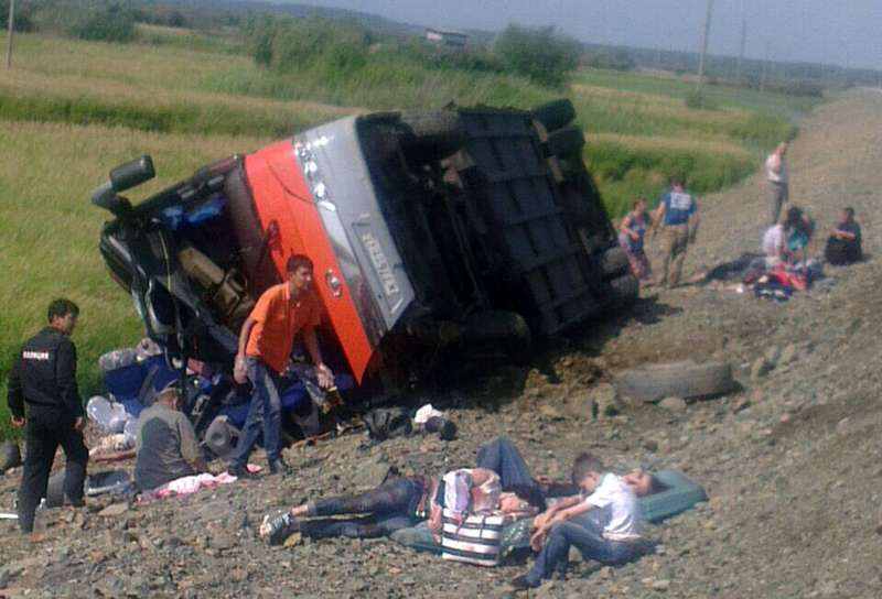Buscollision kills 16people and injures more than 50in Russian Far East