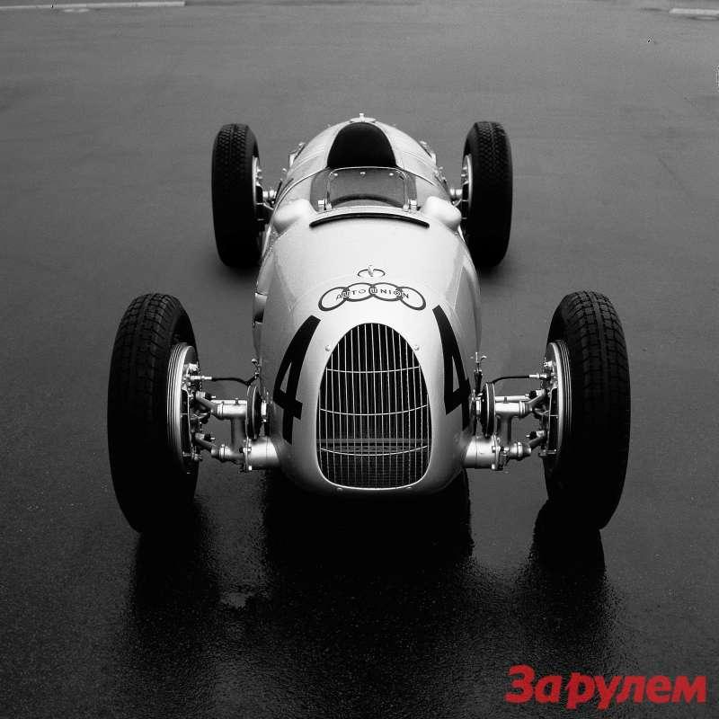 Auto-Union Typ C1936 года смощностью мотора 520 л.с.— развитие конструкции Porsche Typ 22.