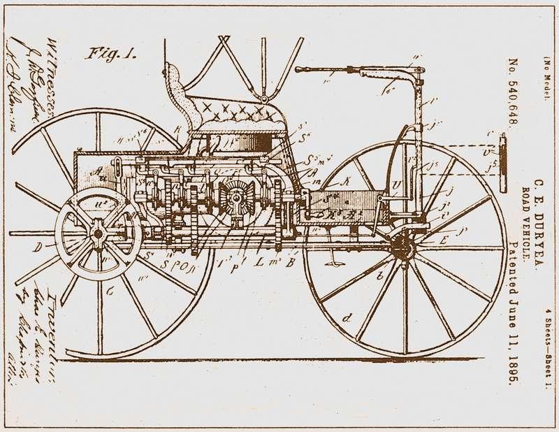 Первый автомобиль братьев Дьюри оснащался двухцилиндровым горизонтальным двигателем водяного охлаждения мощностью около 4л.с. при всего 300 об/мин. Автомобиль ходил 20км/ч