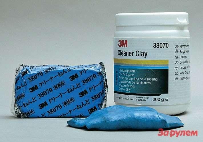 Дляокончательной чистки поверхности профессионалы используют специальную голубую глину 3М. Внешне она напоминает детский пластилин.