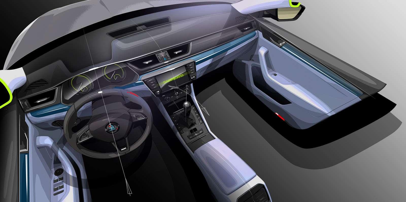 150203 SKODA Superb Interior Design Sketch