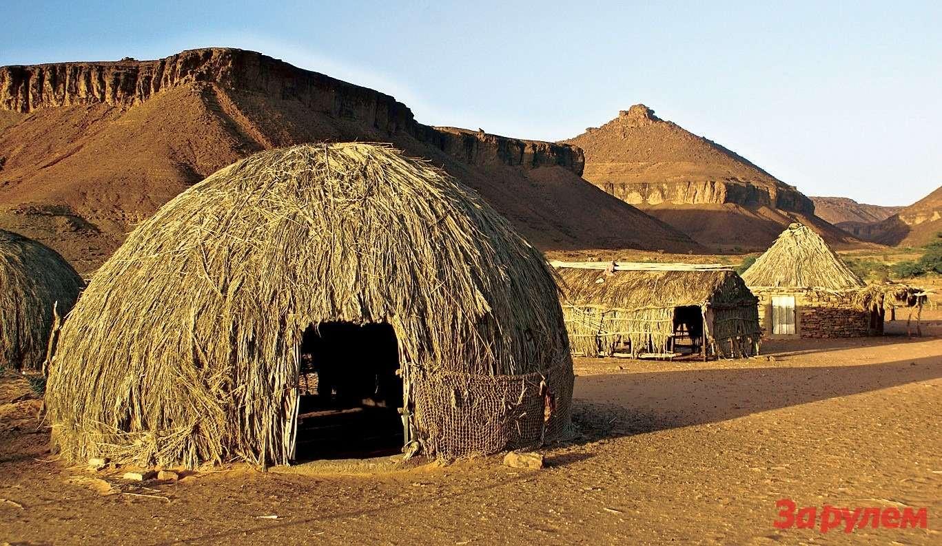 Обычный травяной дом: Мавритания, провинция Адрар, деревня Мхель.