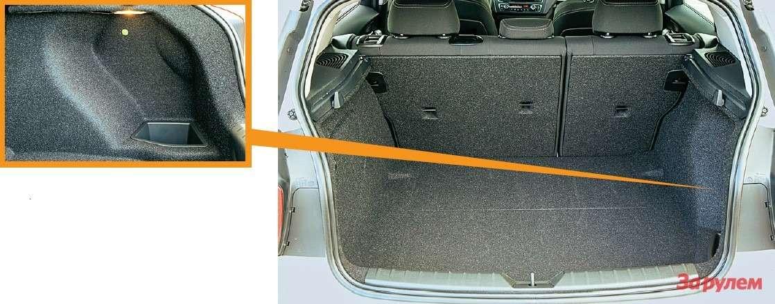 Багажник БМВ размерами почти копирует конкурента: легким движением руки 360л превращаются в1200. Для мелкой поклажи— небольшой карман.