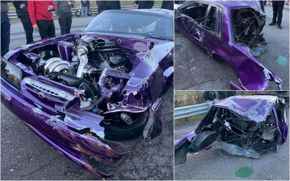 Гоночный Мустанг разорвало пополам: водитель не пострадал