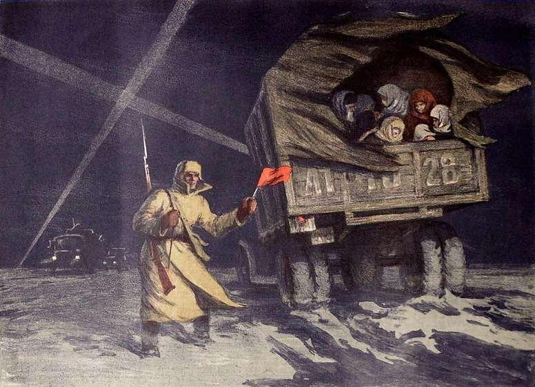 Главный художник Балтфлота Соломон Боим на«Дороге жизни», похоже, небыл, если судить порепродукции сего картины 1949 года