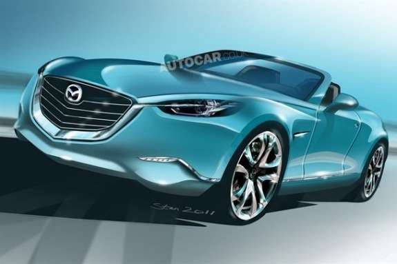 Next Mazda MX-5 rendering byAutocar side-front view