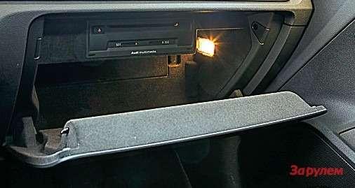 Мультимедийный блок сослотами подкомпакт-диск иSD-карты уAudi спрятан вбардачке.
