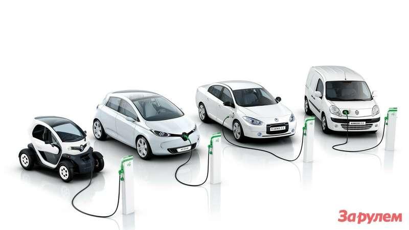 Электромобили Renault (слева направо): Tvizy, ZOE, Fluence Z.E., Kangoo Z.E.