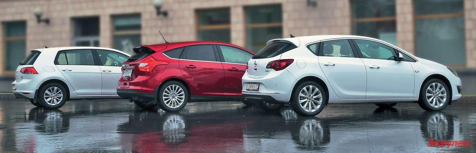 VWGolf, Ford Focus иOpel Astra
