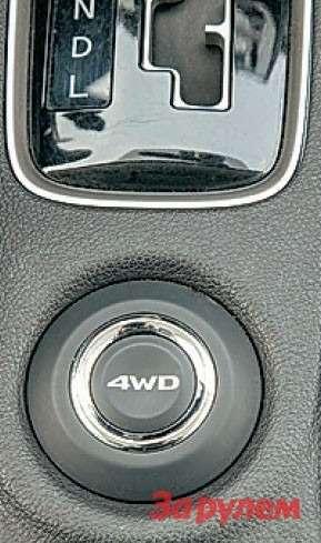 Занеобычной кнопкой прячутся три режима работы полноприводной трансмиссии, которые выбираешь поочередным нажатием.