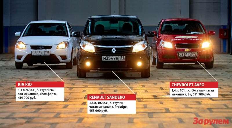 Chevrolet Aveo, KIA Rio, Renault Sandero