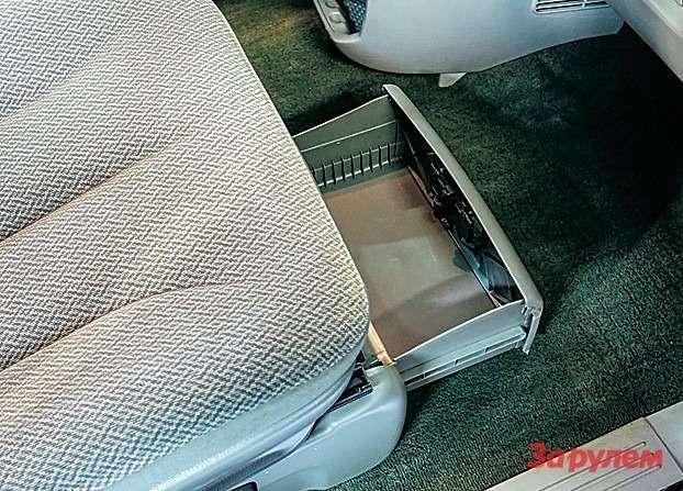 Потайной ящик подпередним пассажирским сиденьем пообъему потягается счемоданом.