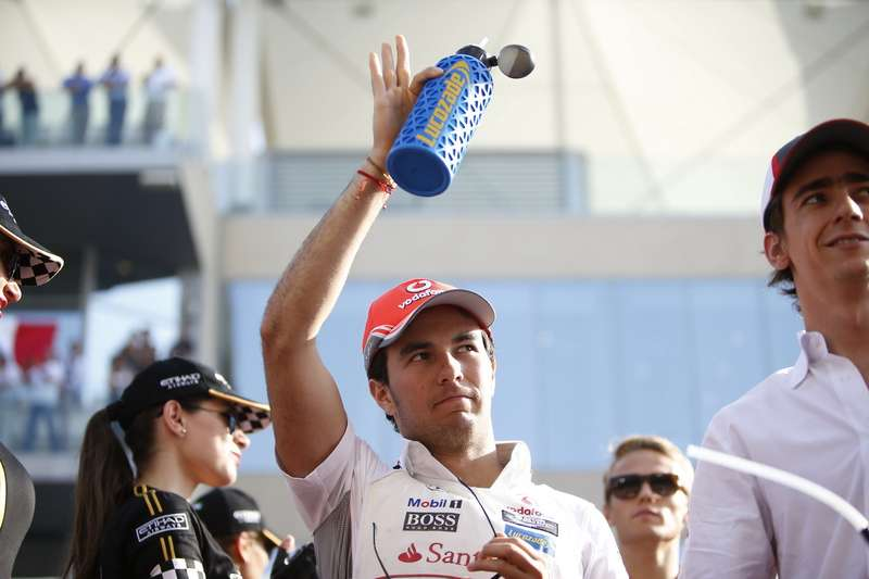 Sergio Perez waves to the crowd