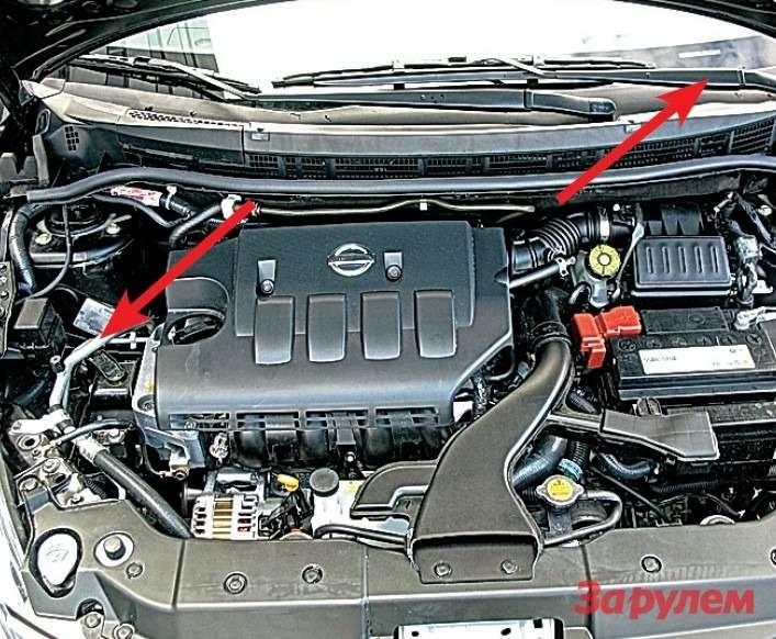 Самый популярный мотор— объемом 1,6л. VIN— наприклепанной ккузову табличке, аего дублер— заветровым стеклом (показаны стрелками).