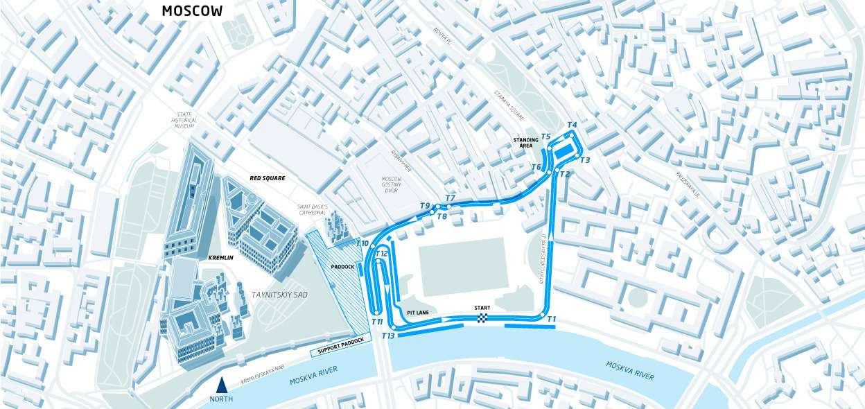 Theproposed circuit layout for the 2015 Formula EMoscow ePrix
