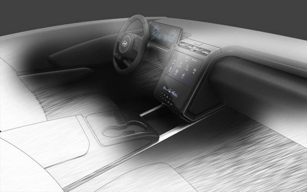 Новый Hyundai Tucson— первый эскиз интерьера— фото 1149999