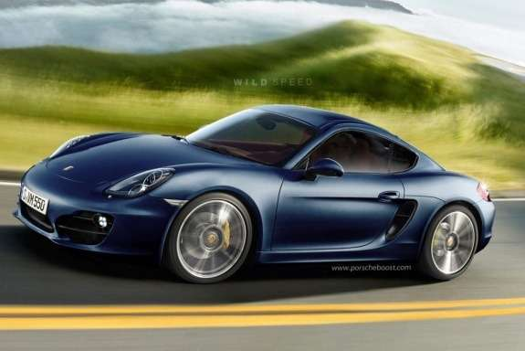 Porsche Cayman rendering side-front view