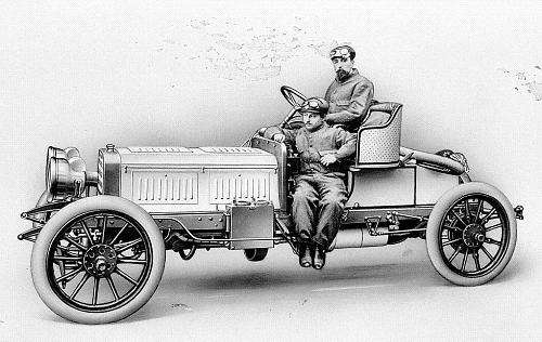 1903 The designer Marius Barbarou at the wheel of his 60 hp Benz Parsifal racing car