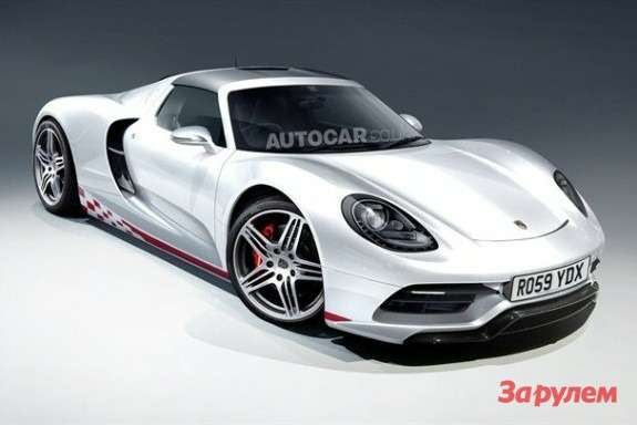 NewPorsche supercar rendering byAutocar side-front view