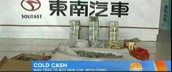 Китаец накопил 5тонн мелочи дляпокупки автомобиля