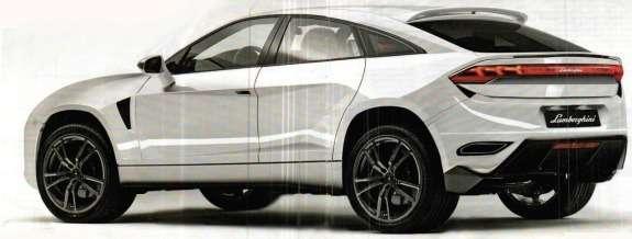 Lamborghini SUV rendering byQuattroruote side-rear view