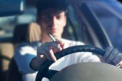 Smoking behind the wheel