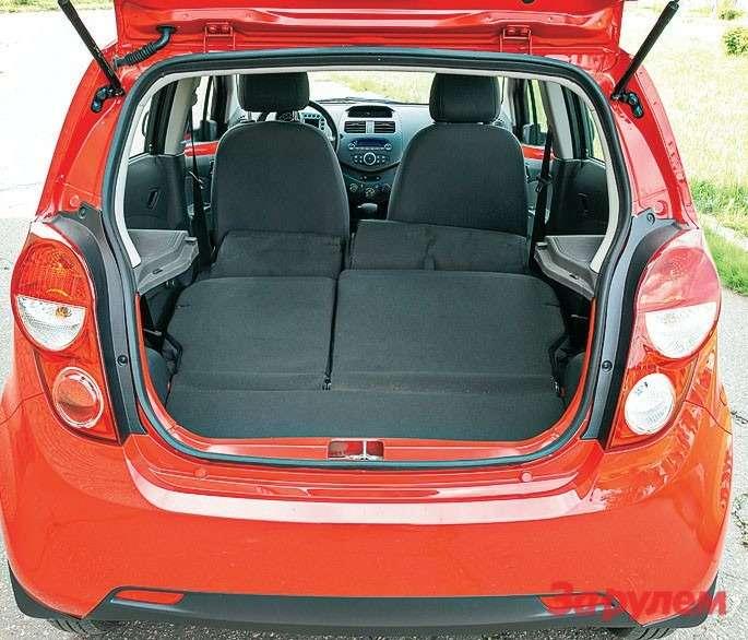 У «Спарка» самый скромный вквинтете багажник— 136л (замеры ЗР). Однако спинка складывается почастям, автакой конфигурации производитель обещает 568 литров.