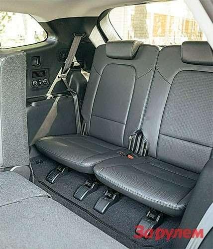 Hyundai Grand Santa FeВпоследнем ряду нетак ужтесно, вот только проход узковат.